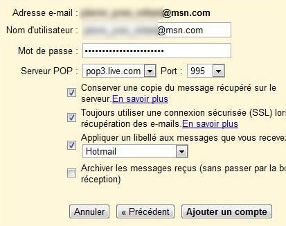 Ajouter compte POP Gmail