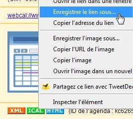 ICal Enregistrer le lien sous