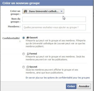 Créer un groupe Facebook privé