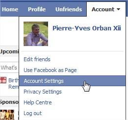 Paramètres compte Facebook