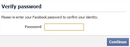 Facebook vérification mot de passe