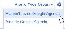 Paramètres GOogle Agenda