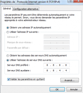 Changer serveur DNS