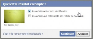 Retirer identification Facebook