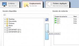 Dossiers où rechercher les fichiers