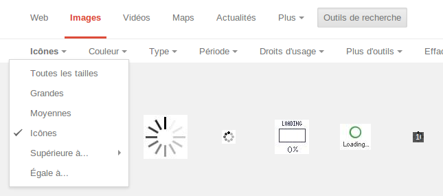 trouver des icônes avec Google