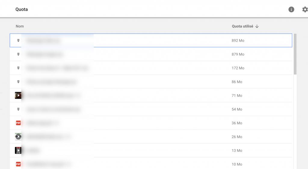 Drive liste des plus gros fichiers