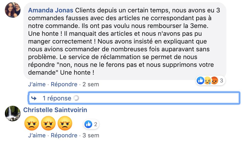 Commentaire négatif sur Facebook